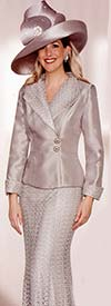 Lily and Taylor 3783 Womens Silky Twill Suit With Lace