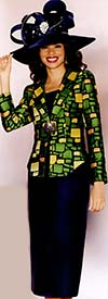 Lily and Taylor 3786 Womens Navy Multi Color Skirt Suit