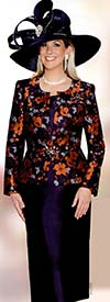 Lily and Taylor 3787 Womens Floral Design Skirt Suit