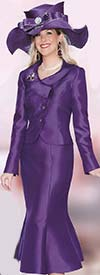 Lily and Taylor 3810 Silky Twill Skirt Suit With Asymmetrical Collar