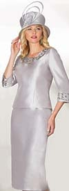 Lily and Taylor 3219 - Silky Twill Two Piece Skirt Suit With Rhinestone Trims