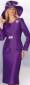 Lily and Taylor 3632 - Three Piece Silky Twill Skirt Suit With Jewel Neckline