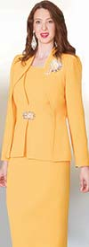 Lily and Taylor 3936 - French Crepe Fabric Skirt Suit With Layered Style Jacket