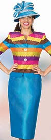 Lily and Taylor 3998 - Silky Twill Skirt Suit With Multi Color Jacket