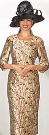 Lily and Taylor 4005 - Novelty Fabric Skirt Suit With Cold Shoulder Design