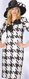 Lily and Taylor 4015 - Silky Twill Dress With Large Houndstooth Print & Bow Adornment