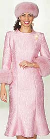 Clearance Lily and Taylor 4017-Pink - Novelty Fabric Flared Dress With Fur Cuffs