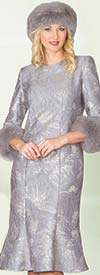 Lily and Taylor 4017-Silver - Novelty Fabric Flared Dress With Fur Cuffs