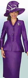 Lily and Taylor 4022 - Silky Twill Skirt Suit With Peplum Jacket