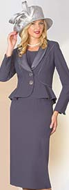 Lily and Taylor 4030 - Crepe / Duchesse Fabric Skirt Suit With Shawl Lapel Peplum Jacket