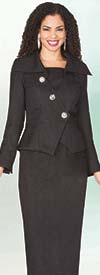 Lily and Taylor Specials 4043 - Novelty Fabric Skirt Suit With Wing Collar Crossover Enclosure Jacket