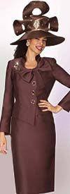 Lily and Taylor Specials 4044 - Soft Twill Skirt Suit With Bow & Brooch Adorned Jacket
