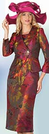 Clearance Lily and Taylor 4048 - Novelty Fabric Multi Print Skirt Suit With Shawl Lapel