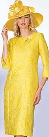 Lily and Taylor 4059 - Novelty Fabric Dress With Textured Look & Split Cuffs
