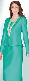Lily and Taylor 4062- Silky Twill Skirt Suit With Rhinestone Embellished Peplum Jacket