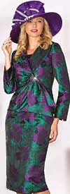 Lily and Taylor 4067 - Novelty Fabric Skirt Suit With Purple Floral Design