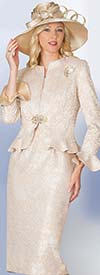 Lily and Taylor 4071 - Jacquard Fabric Skirt Suit With Peplum Jacket