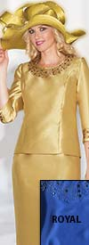 Clearance Lily and Taylor 3219 - Silky Twill Two Piece Skirt Suit With Rhinestone Trims