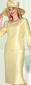 Lily and Taylor 3219-Canary - Womens Silky Twill Dress With Rhinestone Embellishments