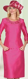 Lily and Taylor 3219-Fuchsia - Womens Silky Twill Skirt Suit With Rhinestone Embellishments