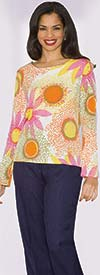 Lily and Taylor 3567 - Womens Two Piece Knit Top & Linen Pant Suit