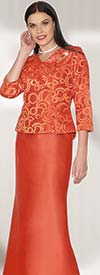Lily and Taylor 3726 - Womens Silky Twill Skirt Suit With Lace Top