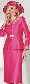 Lily and Taylor 3800 - Womens Silky Twill Skirt Suit With Rhinestones