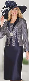 Lily and Taylor 3821 - Womens Silky Twill Skirt Suit With Striped Jacket