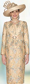 Lily and Taylor 3827 - Womens Silky Twill Skirt Suit With Sequins & Lace