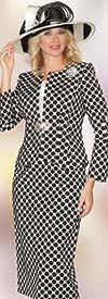 Lily and Taylor 3834 - Womens Three Piece Skirt Suit With Polka Dot Pattern