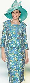 Lily and Taylor 3838 - Ladies Multi Floral Pattern Jacquard Skirt Suit