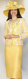 Lily and Taylor 3843A - Womens Silky Twill Skirt Suit With Lace Jacket