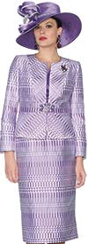 Lily and Taylor 3863-Lavender - Womens Three Piece Jacquard Church Suit