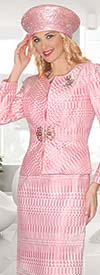 Lily and Taylor 3863-Pink - Womens Three Piece Jacquard Church Suit