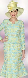 Lily and Taylor 3927 - Womens Jacquard Three Piece Flounce Skirt Suit