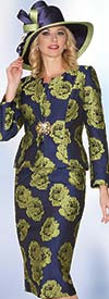 Lily and Taylor 3928 - Ladies Jacquard Skirt Suit With Floral Pattern