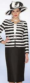Lily and Taylor 3932 - Ladies Silky Twill Skirt Suit With Striped Novelty Jacket