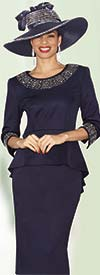 Lily and Taylor 3944 - Rhinestone Embellished Skirt Suit With Peplum Jacket