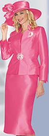 Lily and Taylor 3953 - Womens Silky Twill Skirt Suit With Star Collar