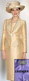 Clearance Lily and Taylor 3955 - Womens Silky Twill Skirt Suit With Studs