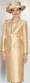 Lily and Taylor 3955 - Womens Silky Twill Skirt Suit With Studs