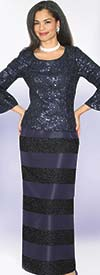 Lily and Taylor 3963 - Womens Novelty Fabric Skirt Suit With Sequins