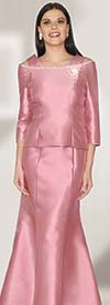 Lily and Taylor 3964 - Womens Silky Twill Mermaild Skirt Suit With Jeweled Neckline