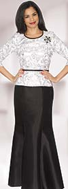Lily and Taylor 3967 - Womens Silky Twill Skirt Suit With Lace Top