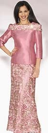 Lily and Taylor 3972 - Womens Silky Twill Portrait Collar Skirt Suit With Lace