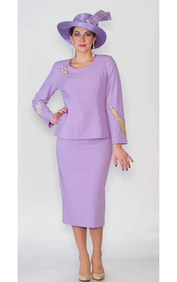 Lily and Taylor 4053 Womens Skirt Suit With Embellished Jacket Sleeves