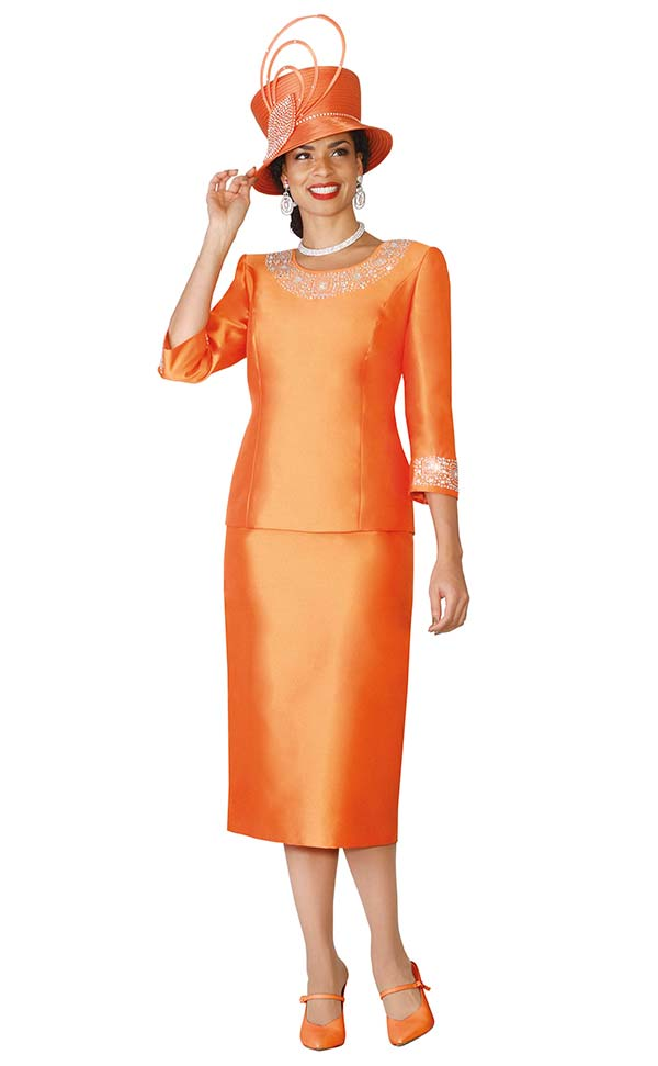 Lily and Taylor 3219-Orange - Silky Twill Womens Church Suit With Rhinestone Embellishments