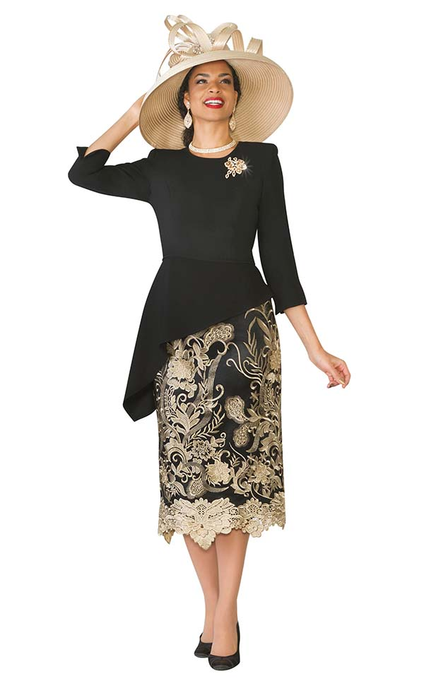 Lily and Taylor 3720-Black - Church Suit With Asymmetric Crepe Top & Lace Skirt