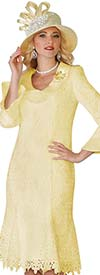 Lily and Taylor 3852-Canary - Lace Church Dress With Wide Collar