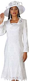 Lily and Taylor 3852-White - Lace Church Dress With Wide Collar